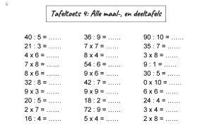 Opdrachten uit de toets tafeltoets 4