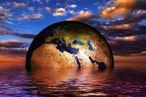 aarde die half onder water zit