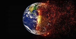 wereldbol die in brand staat