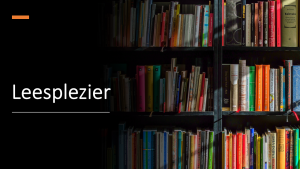 Boeken in een kast met daarbij de titel leesplezier