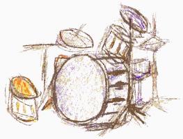 een getekend drumstel