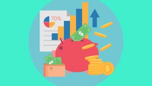 spaarvarken met geld en grafieken