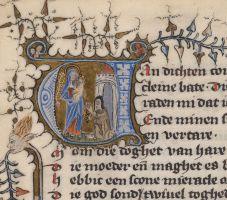 Gehistorieerde initiaal met Beatrijs die knielt voor Maria met kind