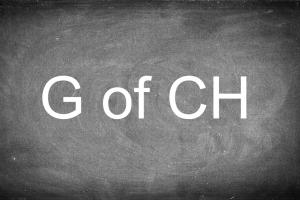 Schoolbord met g of ch erop