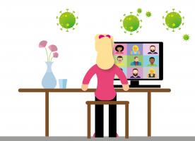 Illustratie van meisje dat aan het videovergaderen is aan een bureau