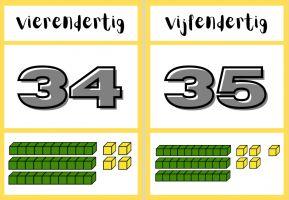 Voorbeeld getalbeeld met MAB-materiaal van getallen 34 en 35