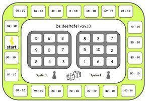 Deeltafel van 10 - bingospel
