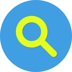 Image of yellow magnifying glass in blue circle
