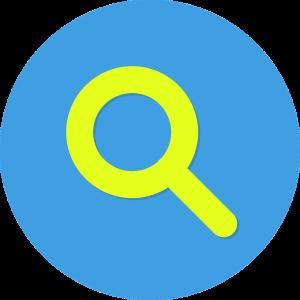 Afbeelding van geel vergrootglas in blauwe cirkel