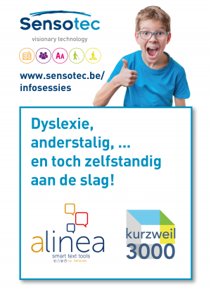 Enthusiastic boy with text and logo of Sensotec