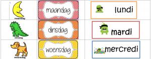 Deel uit de weekkalender met afbeeldingen, naam van de dag in Nederlands en Frans