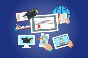 Allerlei toestellen waarop je kan leren, laptop, tablet, smartphone.