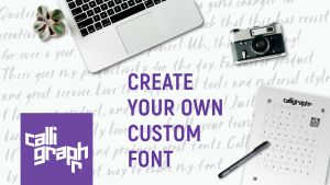 logo calliggraphr + tekst 'create your own font'
