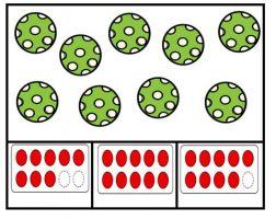 Knijpkaart met 9 ballen en getalbeelden