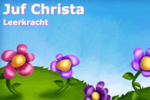 tekst juf Christa en bloemen