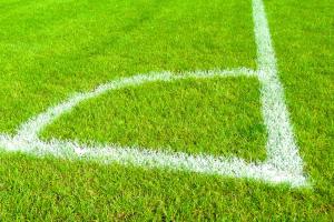 hoek op een voetbalveld