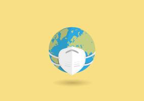 wereldbol met een mondmasker op