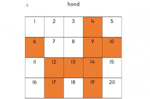 Een kleuroefening uit de opdrachtenreeks getalherkenning