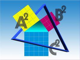 vierkanten op elke zijde van een driehoek en daarop nog een driehoek