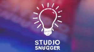 Logo Studio Snugger (titel en oplichtende lamp)