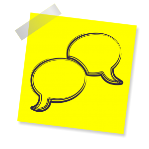 Twee tekstballonnen op een gele achtergrond