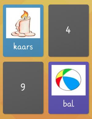 schermafbeelding memory met woorden kaars en bal