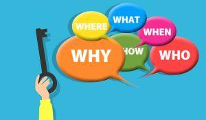 tekstballonnen met vragen