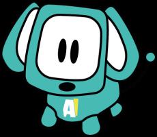 Een tekening van een hond. Op de buik van de hond staan de letters AI.