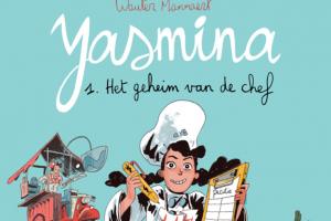 Yasmina met een koksmuts op haar hoofd