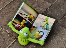 Kermit the frog with a picture book on his lap