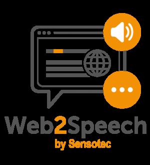 Het logo van Web2Speech.