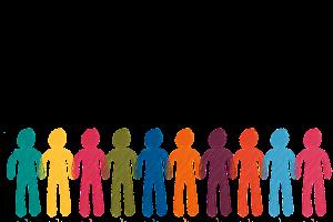 gekleurde mannetjes op een rij