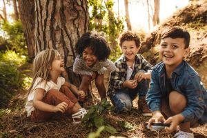 kinderen in bos