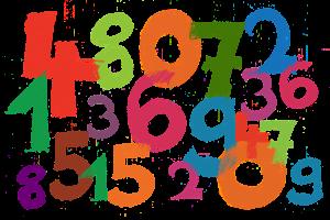 cijfers in verschillende kleuren