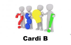 Cardi B onder mannethes die een stappenplan uitbeelden