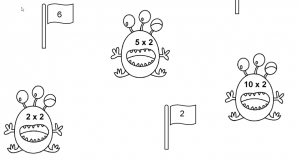 Deel uit het werkblad maaltafel van 2 met enkel monstertjes