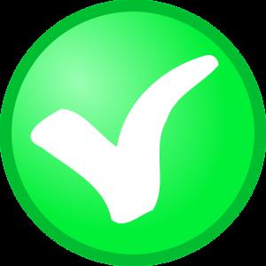 groene cirkel met wit vinkje