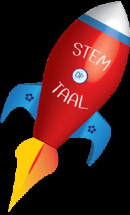 Logo - raket met vermelding STEM op Taal