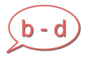tekstballon: b - d