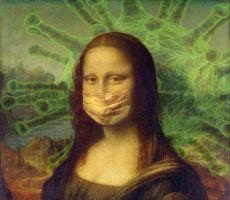 Mona Lisa met een mondmasker op