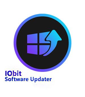 Het logo en de letters van IOBit Software Updater.