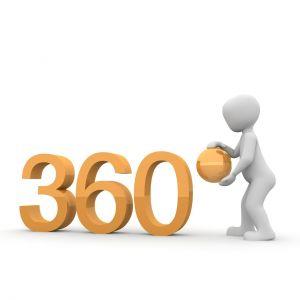Een mannetje met 360° in oranje cijfers.