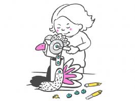 Kind dat met Makedomateriaal iets bouwt