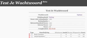 De homepage van test je wachtwoord. Een invulveldje voor je wachtwoord, waarna je een score krijgt.