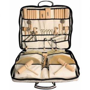 Een handige opbergtas met allerlei muziekinstrumenten