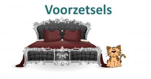een kat naast een bed