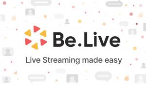 Het logo van Be.Live, een cirkel gevormd door gele en roze driehoeken.