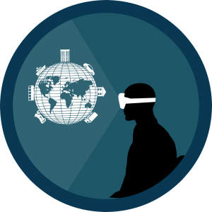 Een silhouette draagt een grote VR-bril, Zijn blik is gericht naar een wereldbol.