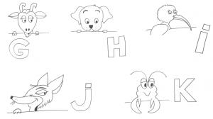 Videostill met tekening van dieren bij de letters G t.e.m. K