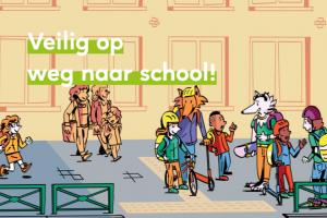 tekening van kinderen op weg naar school